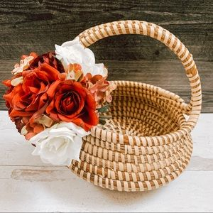 Vintage Handmade Woven Basket with Handle